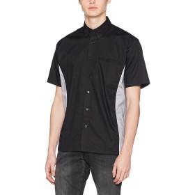 Kustom Kitメンズメンズスポーツマンシャツレギュラーフィットプレーンボタンダウン半袖ビジネスシャツ、ブラック(ブラック/シルバー)、18.5(メーカーサイズ:XX-大)