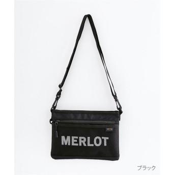 (merlot/メルロー)CORDURAロゴサコッシュ/レディース ブラック