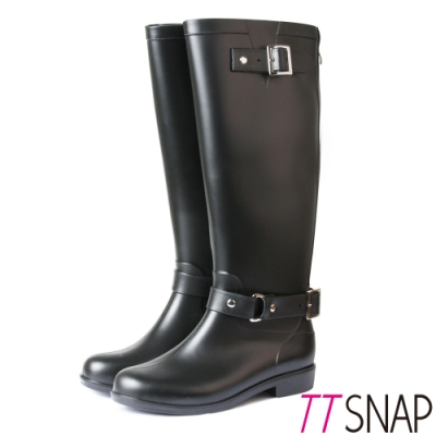 TTSNAP英倫部落客-顯瘦時尚拉鍊防水雨靴  黑