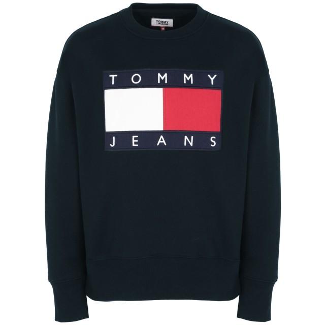 《セール開催中》TOMMY JEANS メンズ スウェットシャツ ダークブルー S コットン BCI 100% FLAG PROGRAM
