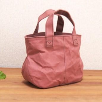 ステッチが可愛い帆布バッグS ピンクアーモンド