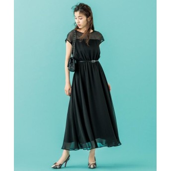 (KUMIKYOKU/クミキョク)【PRIER】肩レースウエストゴム ドレス/レディース ブラック系