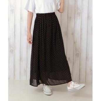 (LACEEQ/ラシーク)ドットロングスカート/ ブラック