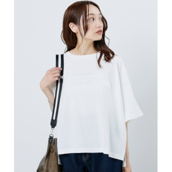 (framesRayCassin/フレームスレイカズン)後ろヘンリー刺繍Tシャツ/レディース オフ白