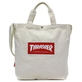 (THRASHER/スラッシャー)スラッシャー トートバッグ THRASHER プリントトートショルダーバッグ 2WAY B4 通学 THC-803/ユニセックス アイボリー系1