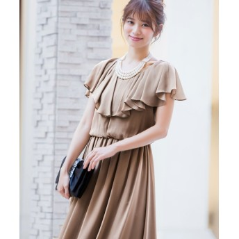 (Fashion Letter/ファッションレター)【結婚式・お呼ばれ対応】フリルスリーブ ロングワンピースドレス/レディース モカ