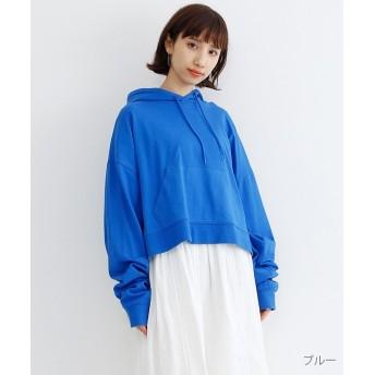 (merlot/メルロー)ビックシルエットタックスリーブフーディー/レディース ブルー