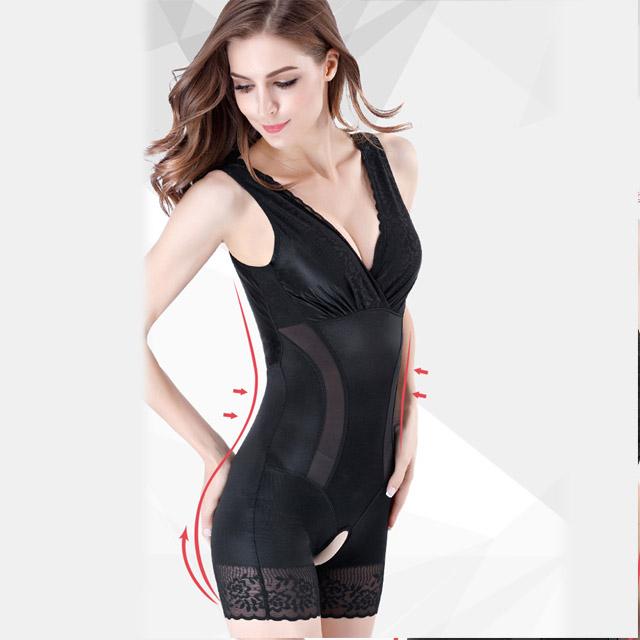 狐狸姬,M-3XL塑身衣琳娜有罩杯連身平角透氣修飾塑身衣-連身款(黑)