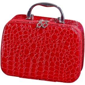 化粧品袋ポータブル女性化粧品化粧品ケース小さなシンプルで新しいかわいいポータブル収納袋収納ボックス (Color : RED, Size : 20714CM)