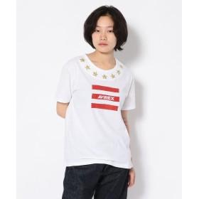 (AVIREX/アヴィレックス)#エンブロイダリースターロゴティーシャツ/ Embroidary Star LOGO T-SHIRT/レディース WHITE