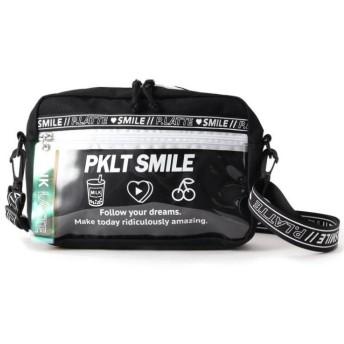 (PINK-latte/ピンク ラテ)ロゴビニールポケットショルダーバッグ/ ブラック×ホワイト(019)