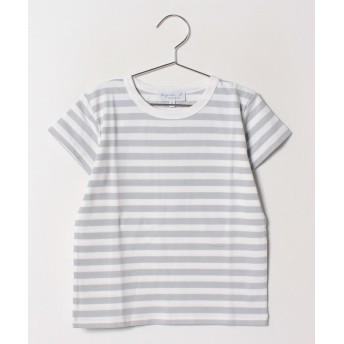 (agnes b. ENFANT/アニエスベー アンファン)J008 E TS ボーダーTシャツ/ グレー系