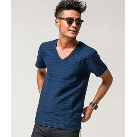 (VICCI/ビッチ)VICCI【ビッチ】タックジャガードVネック半袖Tシャツ/メンズ ネイビー系1