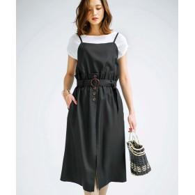 (GeeRa/ジーラ)ビスチェレイヤード風ジャンパースカート/レディース ブラック