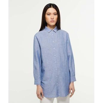 (SISLEY/シスレー レディス)リネン混オーバーシャツ・ブラウス/レディース ブルー