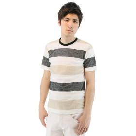 (semanticdesign/セマンティックデザイン)BIGヘリンボーンボーダー柄クルーネックTシャツ/メンズ ベージュ