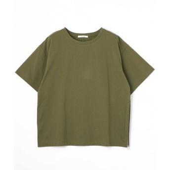 (Grand PARK/グランドパーク)サイドファスナーショートTシャツ/レディース 36オリーブ