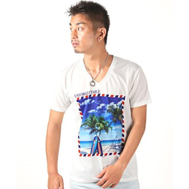 (LUXSTYLE/ラグスタイル)サマービーチ昇華転写プリントVネック半袖Tシャツ/Tシャツ メンズ 半袖 Vネック プリント サマービーチ/メンズ ホワイト