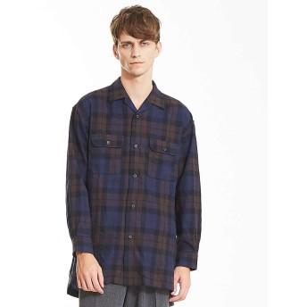 (ABAHOUSE/アバハウス)モールチェックロングオープンカラーシャツ/メンズ ブルー系その他1