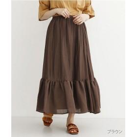 (merlot/メルロー)ティアードギャザーロングスカート/レディース ブラウン