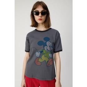 (moussy/マウジー)VINTAGE MICKEY RINGER Tシャツ/レディース L/BLK1