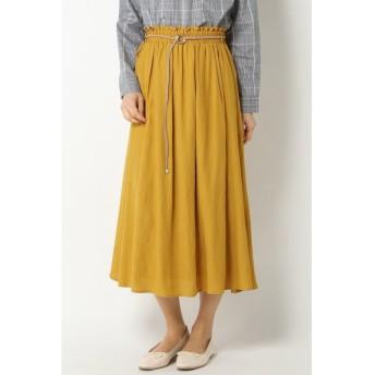 (ikka/イッカ)麻調合繊ベルト付きスカート/レディース イエロー