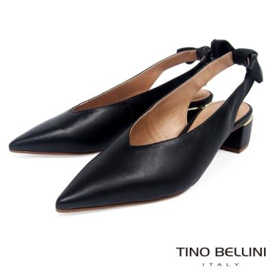 Tino Bellini巴西進口微甜扭結後拉帶中跟鞋_黑