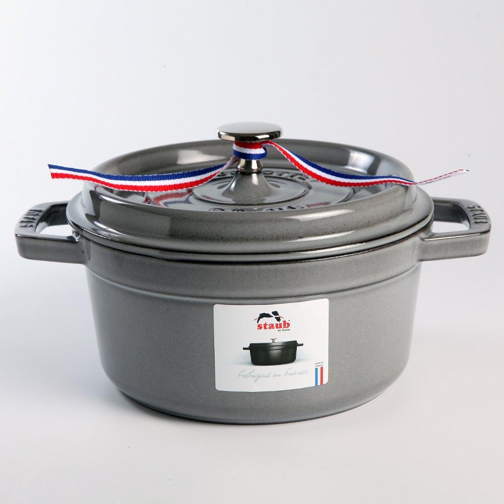 【法國Staub】圓形琺瑯鑄鐵鍋 湯鍋 燉鍋 炒鍋 18cm 1.7L 石墨灰 法國製