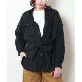 (mjyuka/ミューカ)サファリシャツジャケット シルクネップリネン/レディース 黒