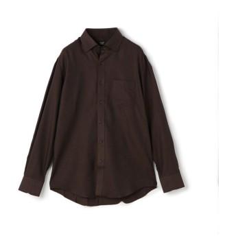 (CROWDED CLOSET/クラウデッドクローゼット)スナップダウンシャツ/コットン×ウール/シャンブレーツイル/メンズ ブラウン