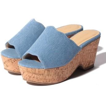 (Shoes in Closet/シュークロ)フラワーカットウエッジソールサンダル/レディース デニム