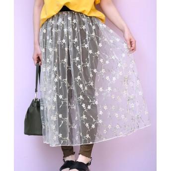 (ANDJ/アンドジェイ)花柄刺繍チュールシースルーロングスカート/レディース オフホワイト