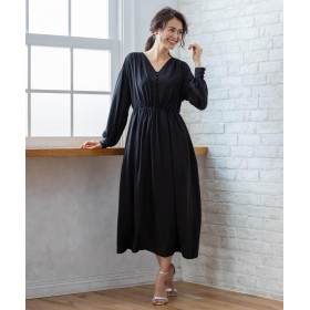 (KUMIKYOKU/クミキョク)【PRIER】ボリュームスリーブVネックギャザーロング ドレス/レディース ブラック系