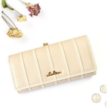 (Clelia/クレリア)財布 長財布 レディース がま口 大容量 フラップ 札入れ 二層 ストライプ がま口長財布/レディース ベージュ
