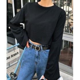 (MERONGSHOP/メロンショップ)MERONGSHOP(メロンショップ)デイリークロップドTシャツ-1/レディース ブラック