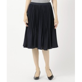 (KUMIKYOKU(LARGE SIZE)/クミキョク エルサイズ)【Lサイズ仕様】プラチナプリーツアムンゼン スカート/レディース ネイビー系