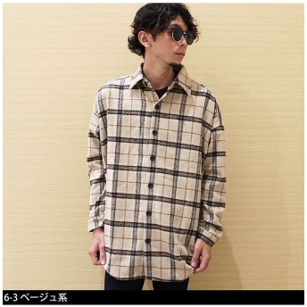 (NEXT WALL/ネクストウォール)「849-76」メンズ ネルシャツ 長袖シャツ カジュアル BIGシャツ/メンズ ベージュ