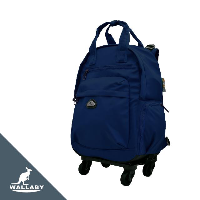 WALLABY 袋鼠牌 18吋 素色 拉桿後背包 藍色 HTK-94223-18DL