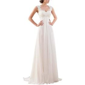 花嫁ドレス 女性スクープネックノースリーブレースアップリケボディスクラシックシフォンウェディングドレスブライダルガウンレースアップカットバックバックウエディングドレスAラインフォーマルイブニングウエディングドレス (色 : 白, サイズ : US10)