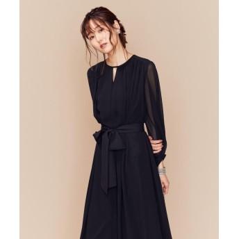 (KUMIKYOKU/クミキョク)【PRIER】BIGリボンギャザーロングワンピース ドレス/レディース ブラック系