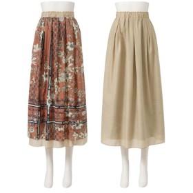 (YUMETENBOU/ユメテンボウ)スカーフ柄リーフ柄スカート/レディース ピンク