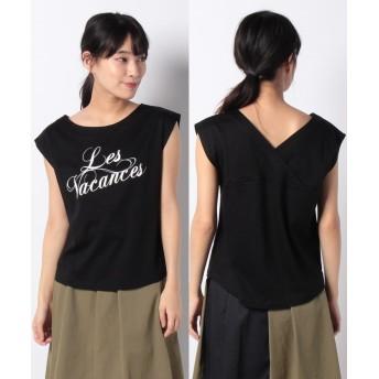 (allureville/アルアバイル)【Loulou Willoughby】バックVネックロゴTシャツ/レディース ブラック