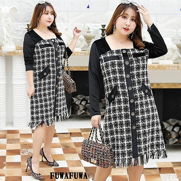 (現貨+預購 FUWAFUWA)-- 加大尺碼絲絨格紋拼接長袖洋裝小禮服