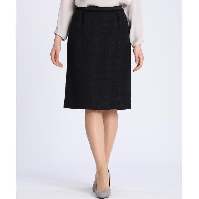 (CLEAR IMPRESSION/クリアインプレッション)ファンシーツイードAラインスカート/レディース ダークネイビー8