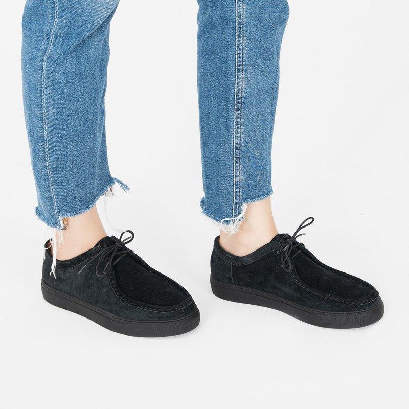 輕防水!外縫線軟皮革袋鼠鞋  霧黑鞋底 MIT 全真皮-鈍黑