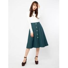 (BE RADIANCE/ビーラディエンス)ビジューボタン付きスカート/レディース グリーン