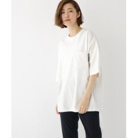 (BASECONTROL/ベースコントロール)ビッグシルエット 袖 チビロゴ 裾紐 半袖 Tシャツ/レディース アイボリー(004)