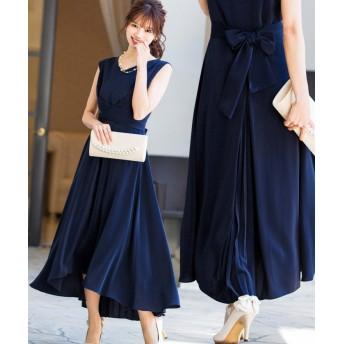 (Fashion Letter/ファッションレター)クロスベルト バックプリーツ ドレス/レディース ネイビー