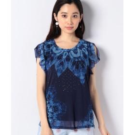 (Desigual/デシグアル)スタッズ付き半袖Tシャツ/レディース ブルー系