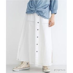 (merlot/メルロー)配色ステッチフロントボタンスカート/レディース オフホワイト